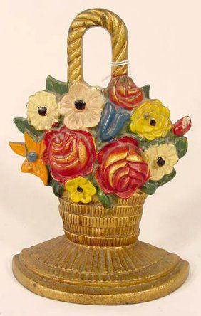 cast-iron-basket-of-flowers-doorstop & 2160: Cast Iron Basket of Flowers Doorstop NR on | Iron