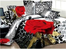 Sexy Red Rose and Leopard Print Cotton Bedding Sets