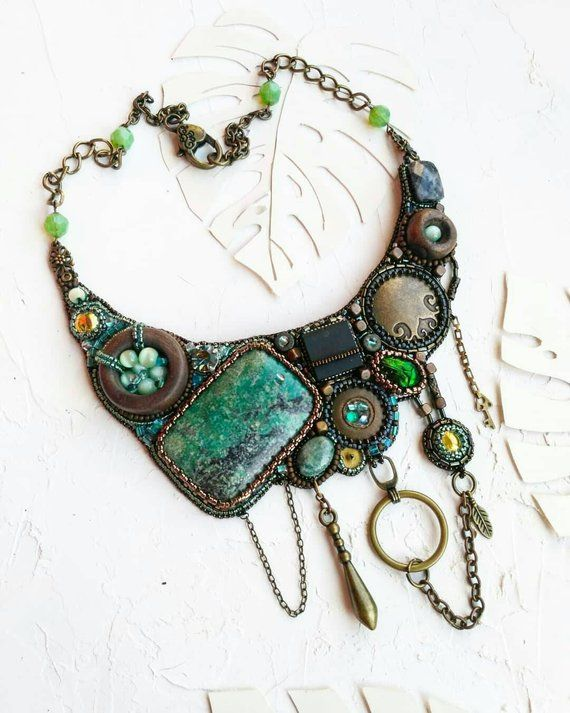 5b134fde75062 Big chunky necklace natural stone necklace Fantasy necklace Statement  necklace Tribal necklace Origi