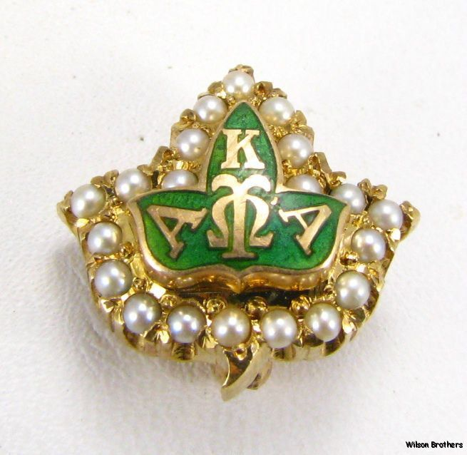 14k Yellow Gold Alpha Kappa Alpha Sorority Pin Badge.via