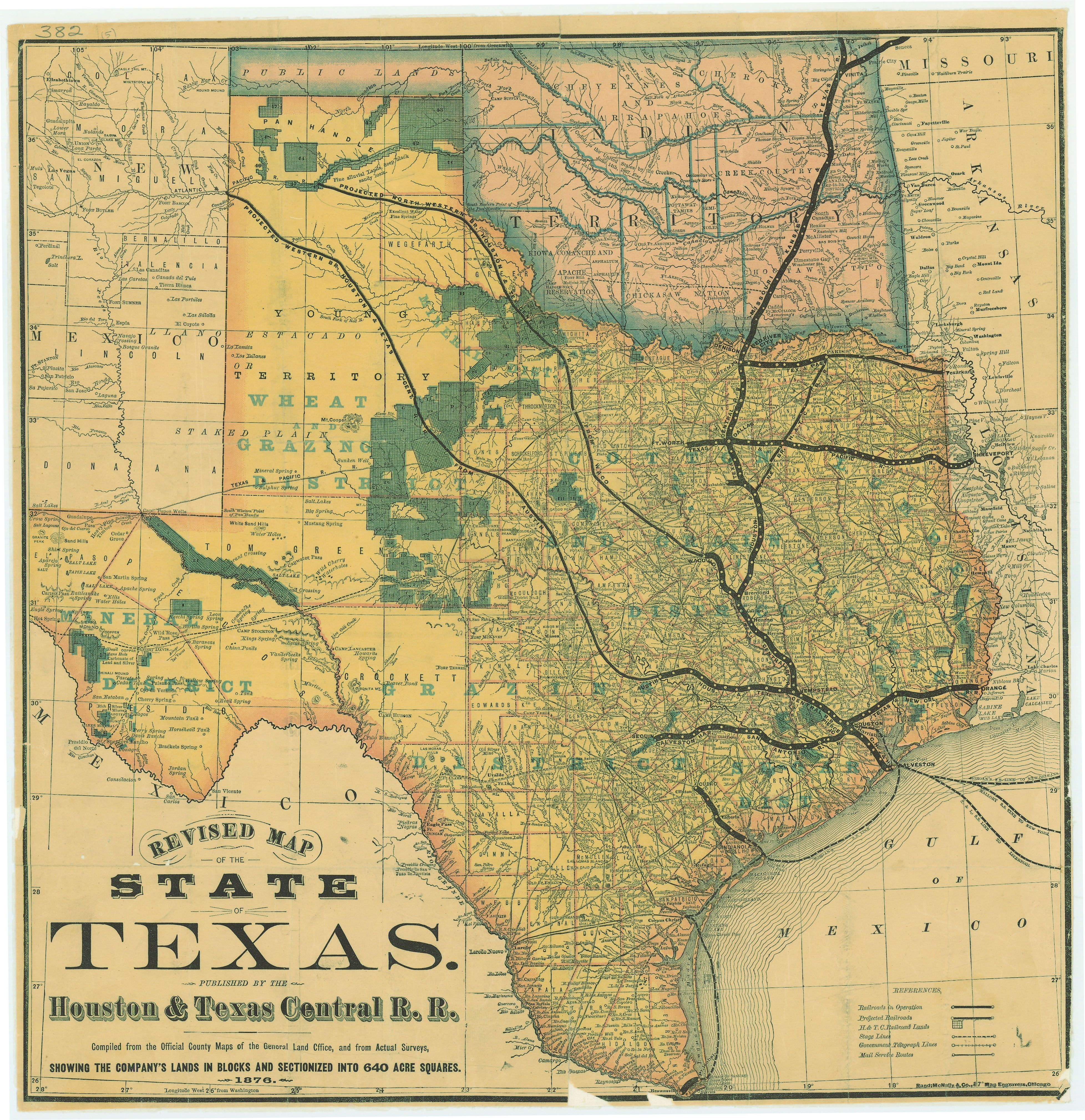 1876 Houston and Central Railway Map of Texas and Indian Territory