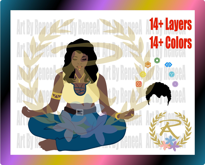 Black Woman Svg Black Girl Svg Black Queen Svg Chakra Svg Yoga Svg Meditating Svg Commercial Use Svg Dxf Eps Studio3 By Black Girl Black Women Rene