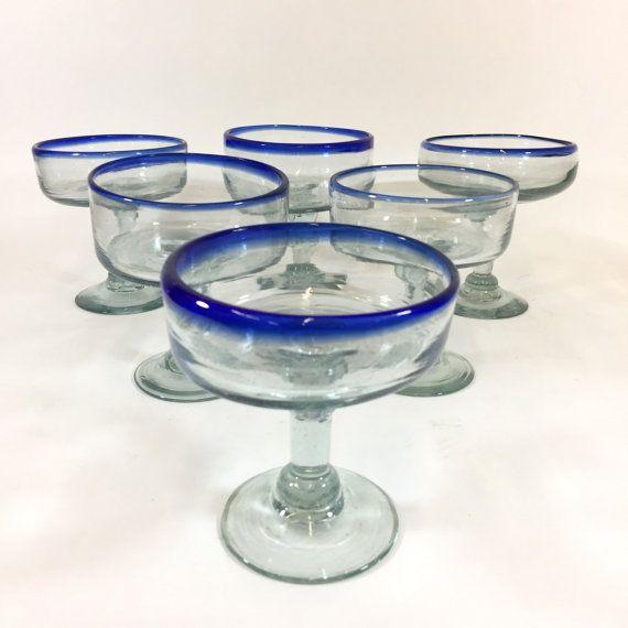 Mexican Cobalt Margarita Glasses Vintage By Retroresalesandiego Vintage Barware Mexican Glass Margarita Glasses