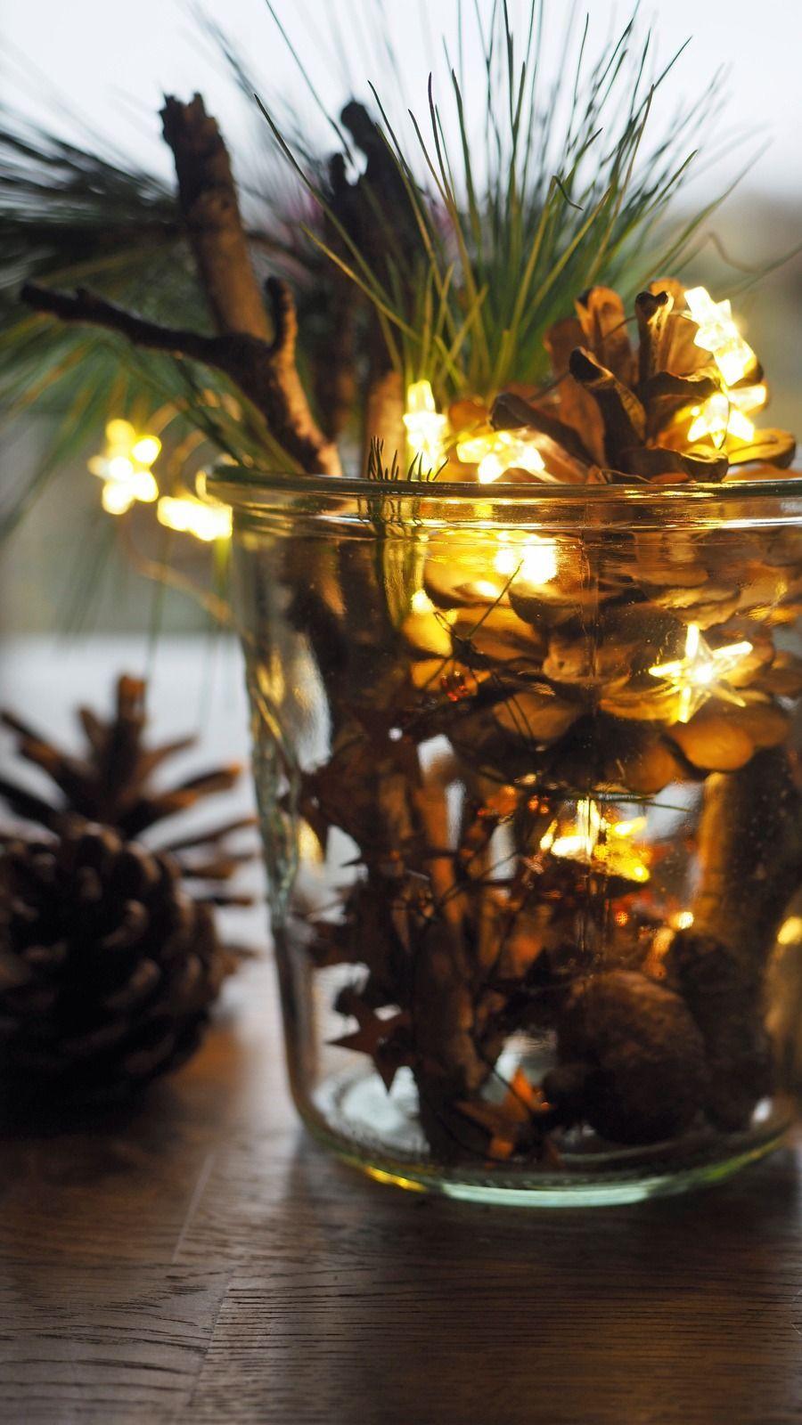 Schöne Adventsdeko mit Lichterketten in 2020 Candle jars
