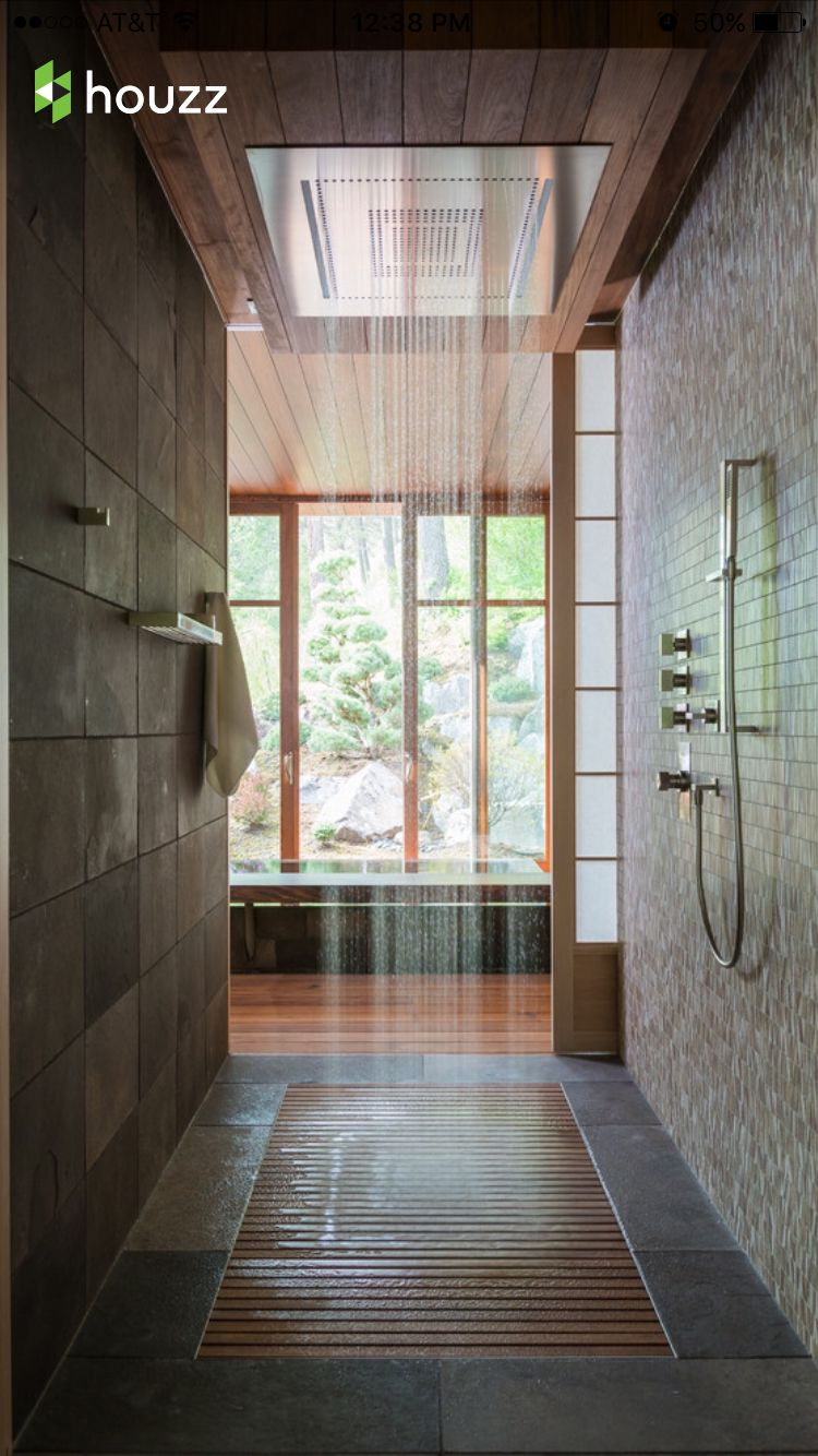 Really Love This Open Shower With Huge Rain Shower Head, As Well As The Mix  Of Stone/slate, Bamboo And Tile   If We Can Create Anything Close To This  ...