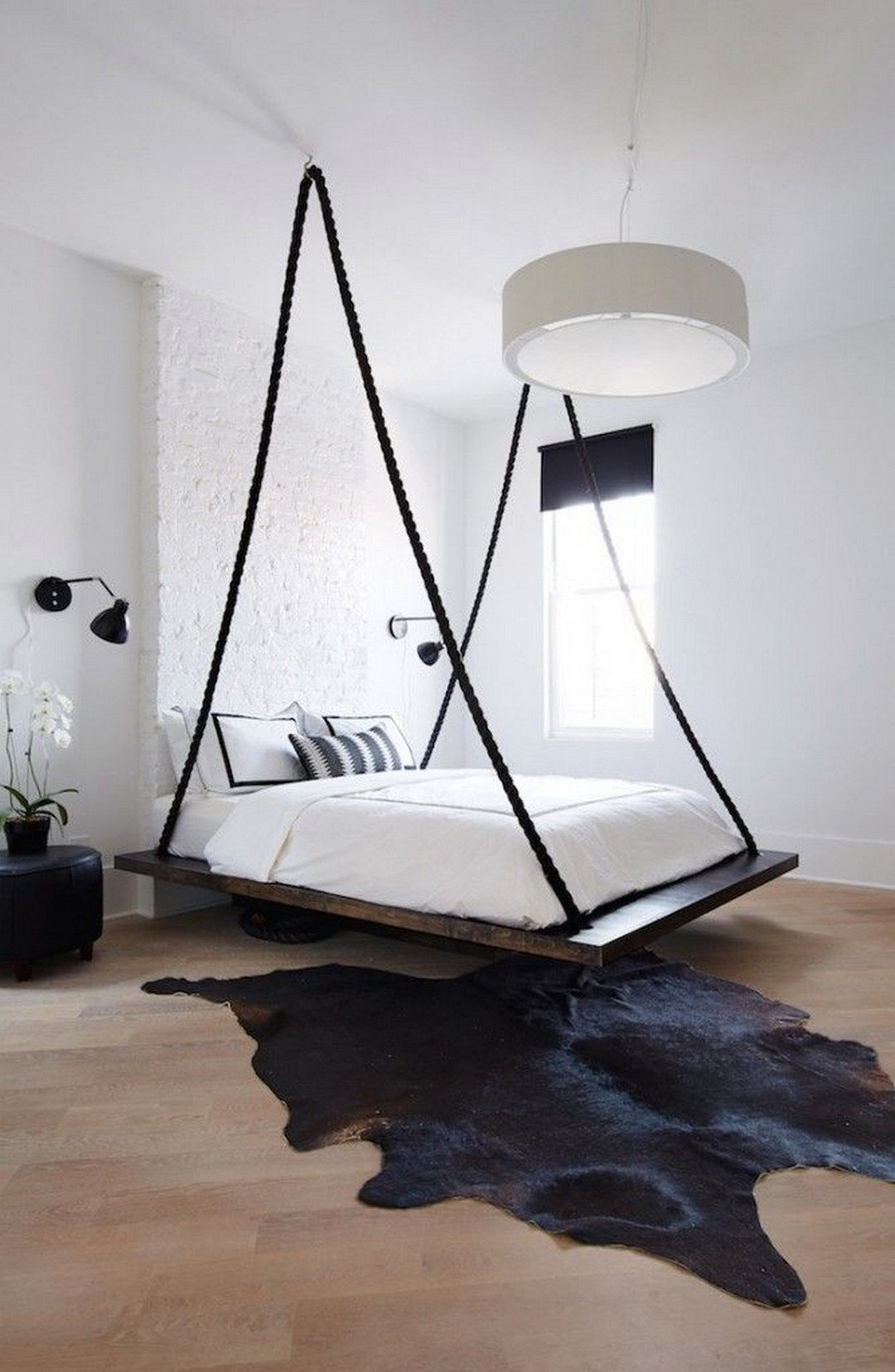 Interior Tips How To Introduce Grey Into The Bedroom In 2020 Minimalism Interior Hanging Beds Bed Design