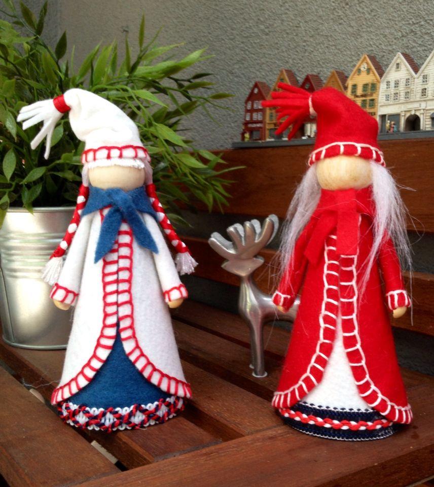 Norwegian Christmas Dolls Handmade Felt Decorations 8