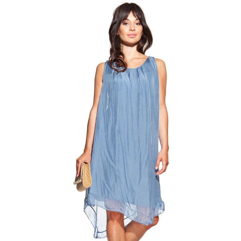 Asymmetric silk dress colour blue with U-neck