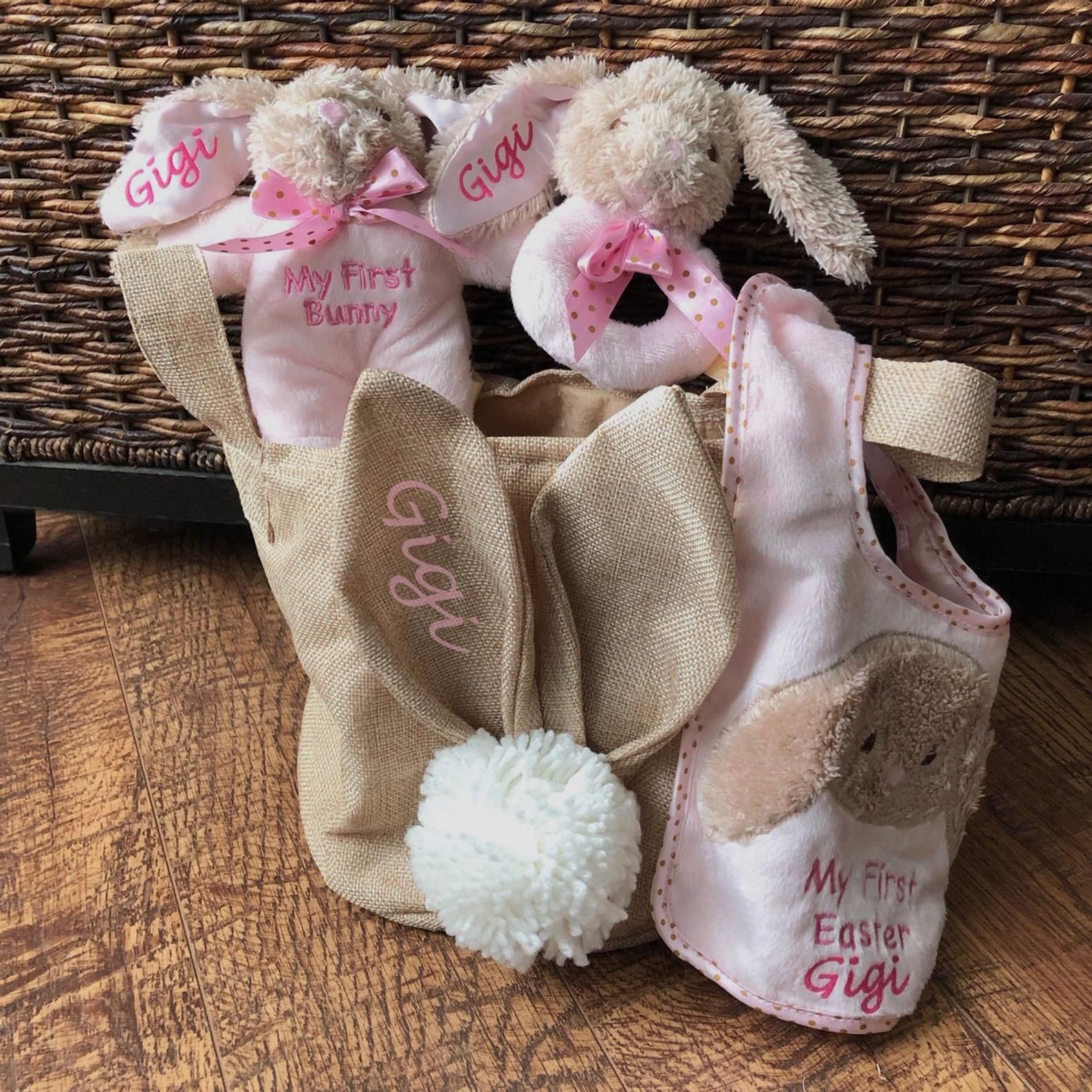 Baby girl my first easter gift basket set personalized