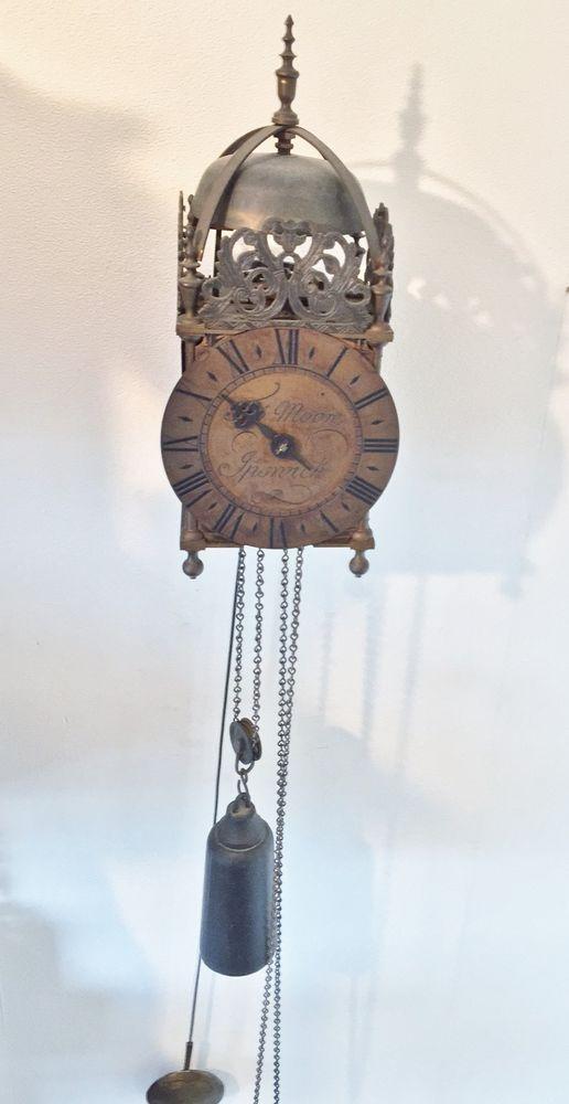 English Lantern Weight Driven Brass Wall Clock Tho Moore Ipswich English Lanterns Clock Wall Clock