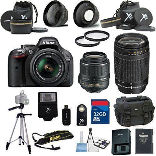 Nikon D5200 Black Camera With Nikon 18 55mm Vr Lens Premium Bundle Nikon 70 300mm Zoom Lens 2pc Filter Kit Xit Telephoto Lens 32gb Bandwidth Memory Card