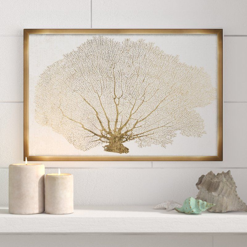 Nautical And Coastal Gold Coral Fan Marine Life By Oliver Gal Graphic Art Print On Canvas In 2020 Graphic Art Nautical Art Graphic Art Print