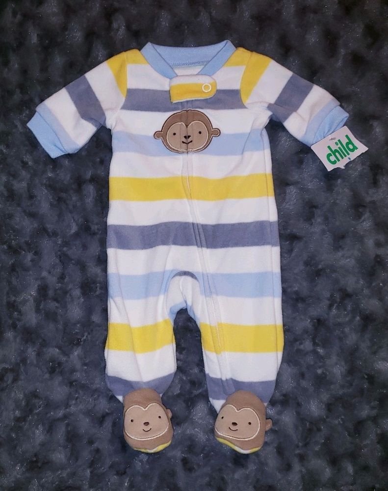 58983b1b7 NWT Carters Baby Boy Clothes P Preemie One Piece Fleece Footie ...