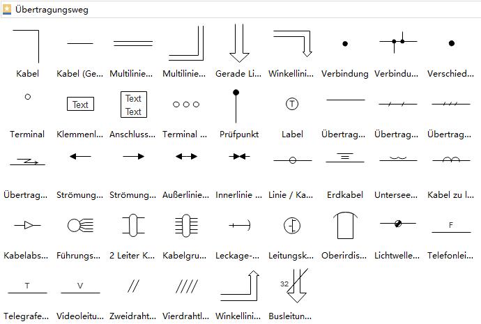 Übertragungsstrecke Symbole | Elektrische Schaltpläne Konstruktion ...