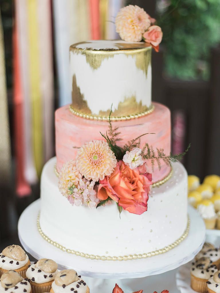 white peach and gold wedding cake 25 gorgeous flower covered wedding cake ideas 27306