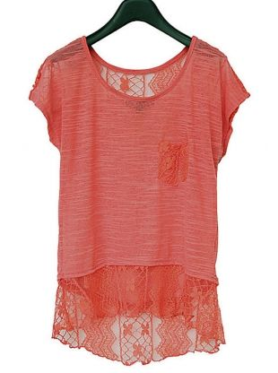 red short sleeve hollow out lace shirt