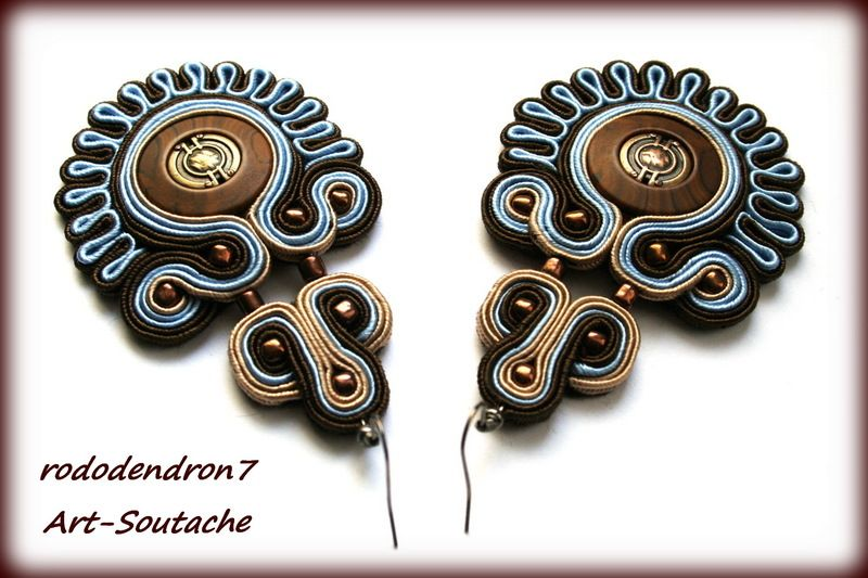 Soutache earrings elegant and classy- King's Stamp  ALEMAN - Remate trasero muy limpio