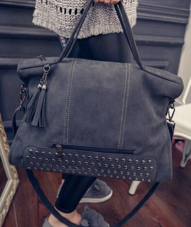 Rivet Women handbag Frosted Women messenger Crossbody bag Large capacity women  tote Shoulder bag Ladies Tassel Bag 8b4df03c58459