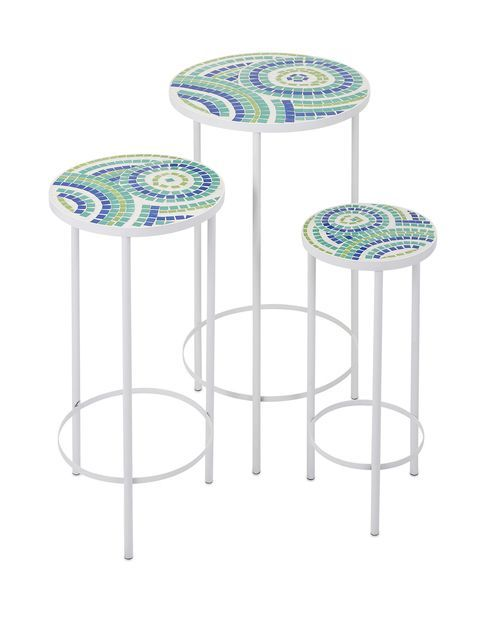 This Trio Of Beach Style Mosaic Topped Nesting Tables In A