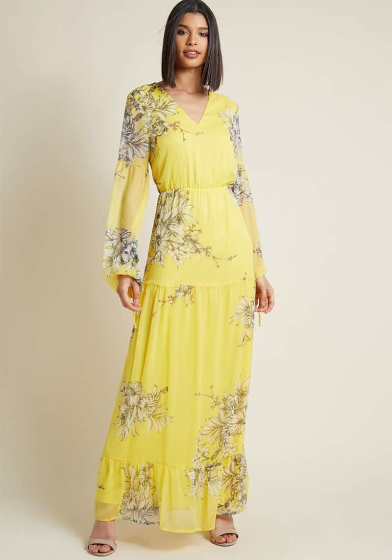 Yellow Floral Maxi Dress For Spring Wedding Guest Maxi Dress Yellow Floral Maxi Dress Dresses [ 1097 x 768 Pixel ]