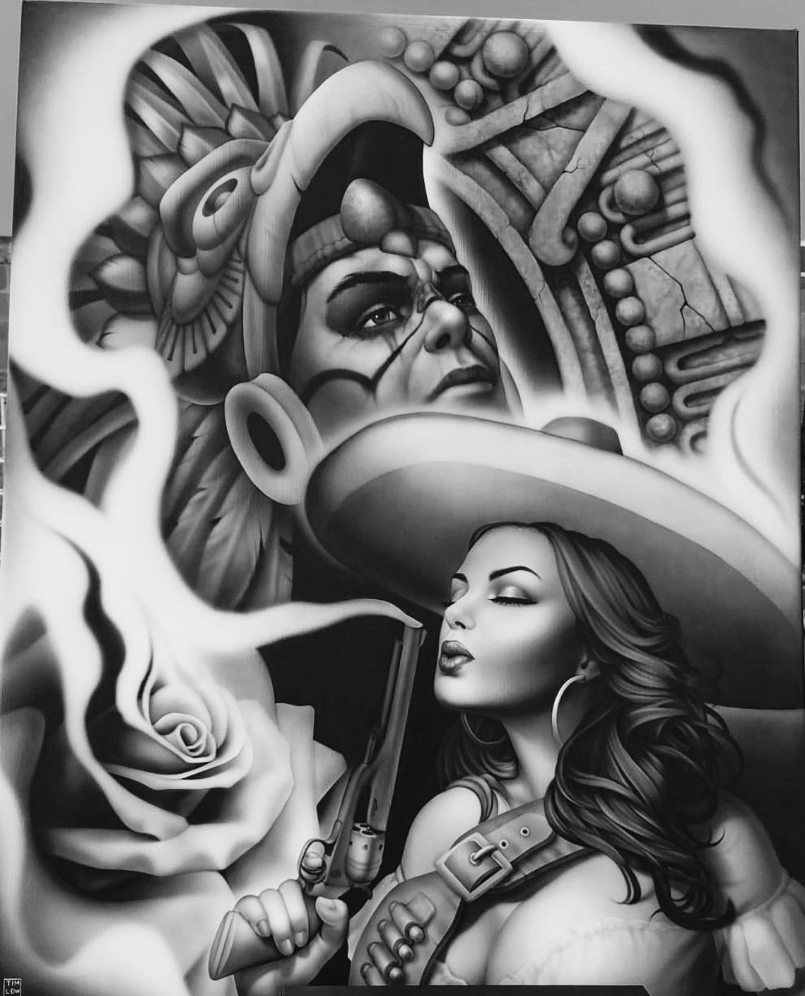 Lowrider Latina Art Drawing
