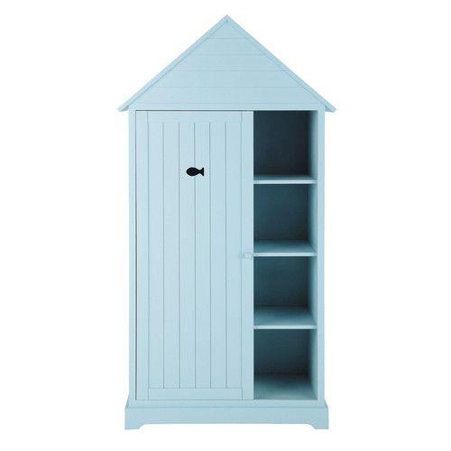 Kinderkleiderschrank im Hütten-Look aus Holz, B 95 cm, blau ...