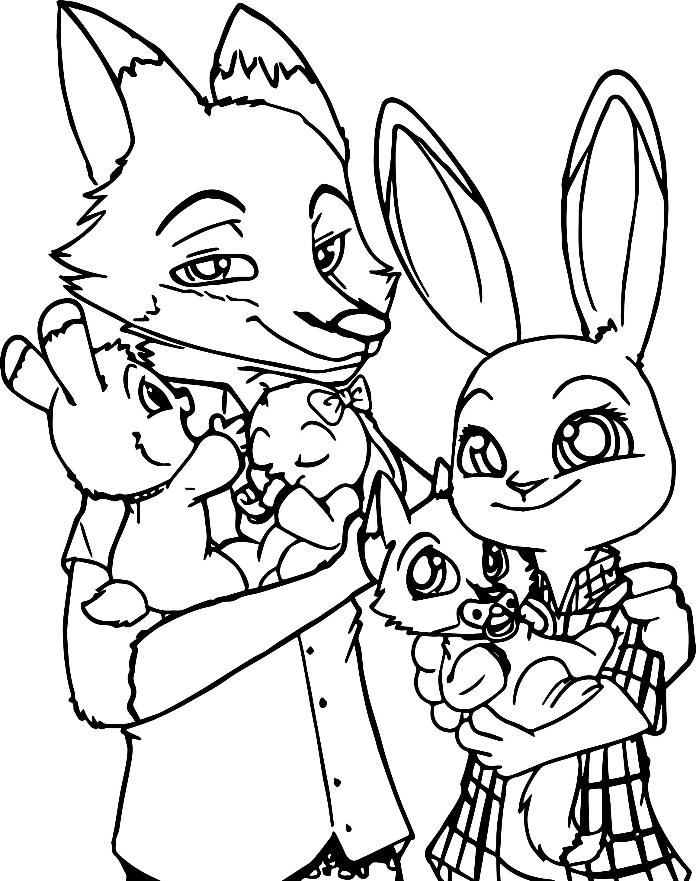 Zootopia Bunny And Fox Family Coloring Page
