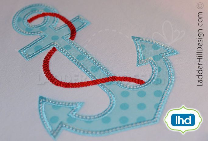 Anchor applique with rope machine embroidery design nautical