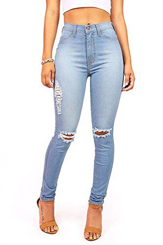afcd4f5544762 Vibrant Women s Juniors Ripped Knee High Waist Skinny Jeans