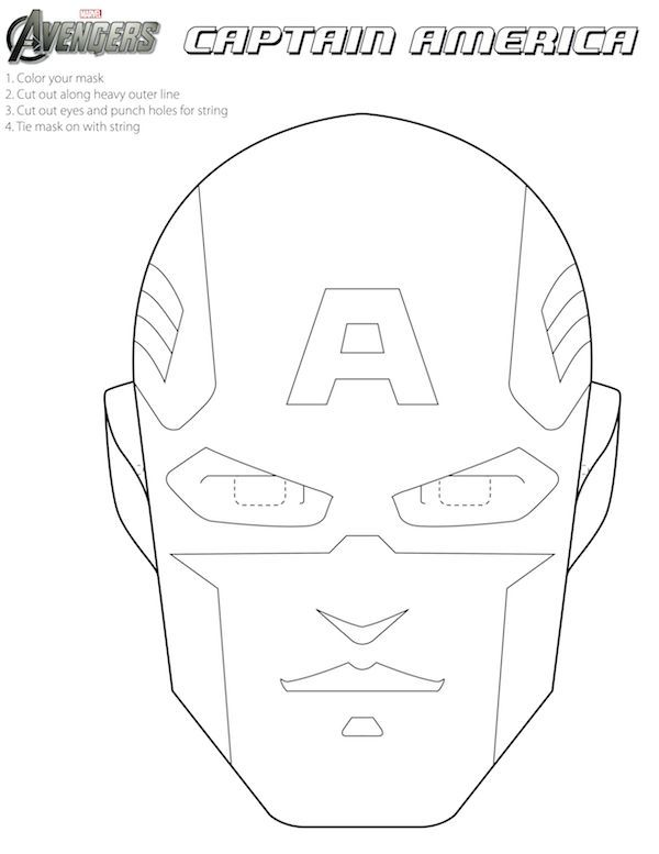 Free Avengers Printable Halloween Masks to color Superheroes