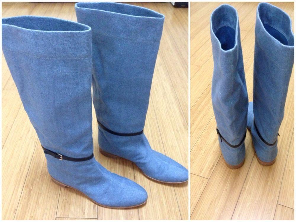 $775 SERGIO ROSSI blue jens, denum boots. worn once size 37(US 7) #SergioRossi #FashionKneeHigh