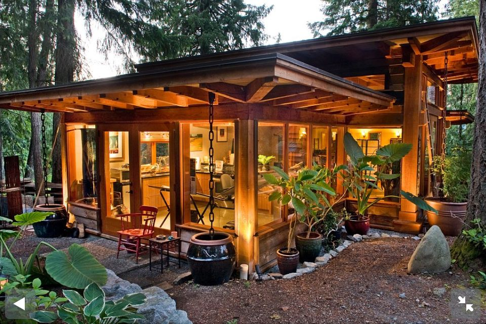 Great Timber Frame In The Forest On Vancouver Island.