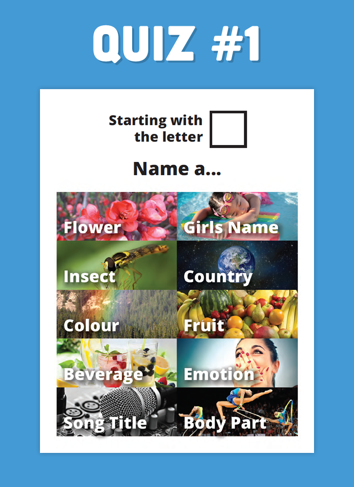 Name a Word Quiz 1 Senior activities, Cognitive
