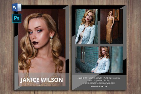 Modeling Comp Card Template Word Template Photoshop