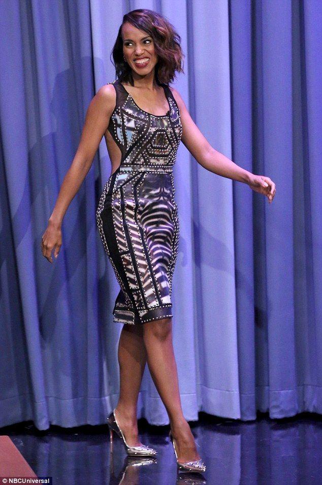 She\'s got legs! Kerry Washington cuts a stylish figure on Tonight Show