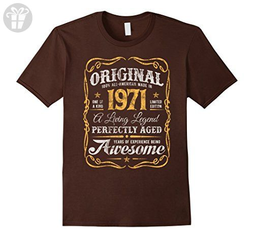Mens Vintage Original Legends Made In 1971 T-Shirt 46th Birthday Large Brown - Birthday shirts (*Amazon Partner-Link)