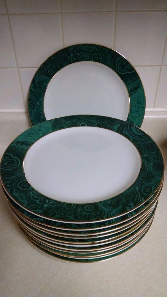 GABBAY Malachite Dinnerware Gold Trim Rims Dinner Plates Discontinued # Gabbay & GABBAY Malachite Dinnerware Gold Trim Rims Dinner Plates ...