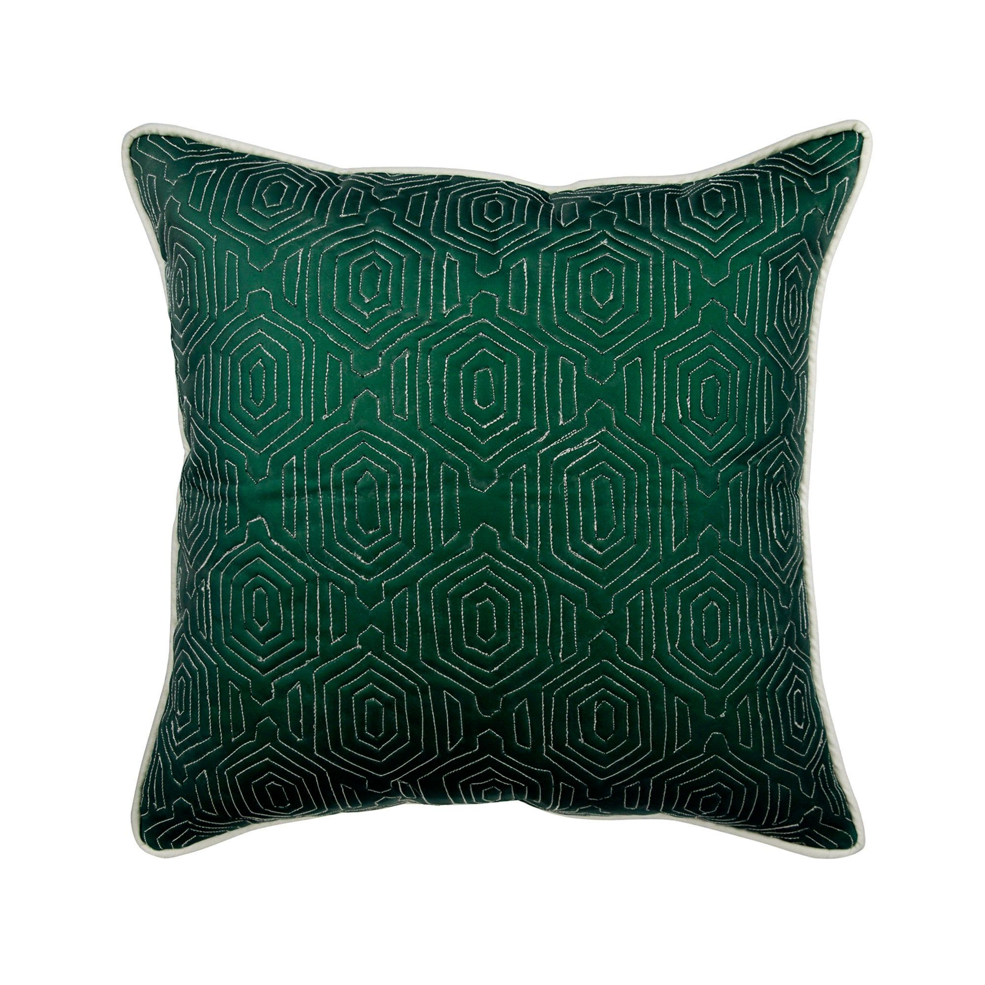 Leather Suede Green Couch Throw 16 X16 Designer Cushion Cover Pillow Cover Geometric Pattern Modern Home Decor Pillow Lost Emerald Leather Throw Pillows Geometric Pillow Covers Cushion Cover Designs