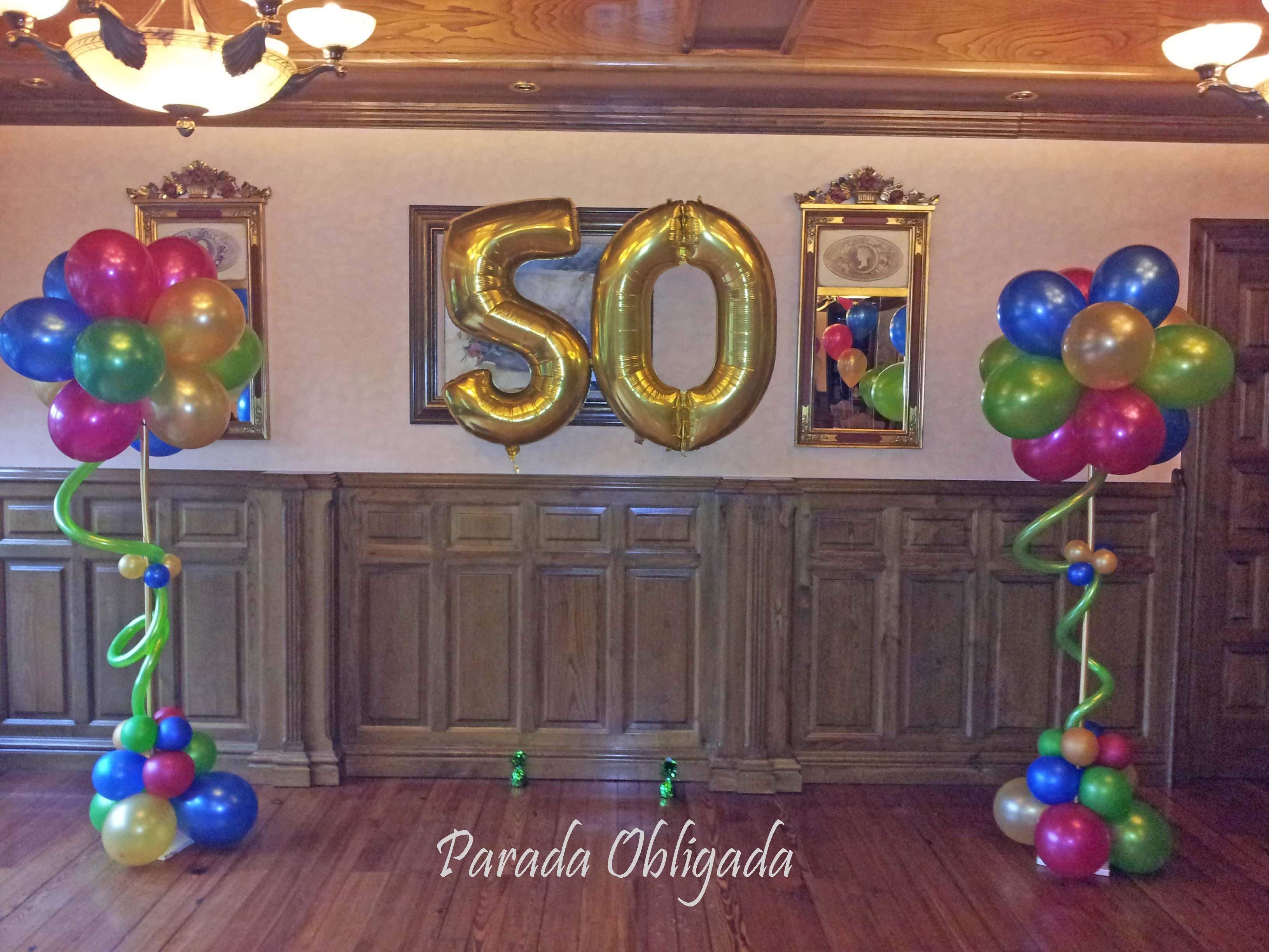 Decoraci n cumplea os de 50 a os n meros de globos for Decoracion con globos 50 anos