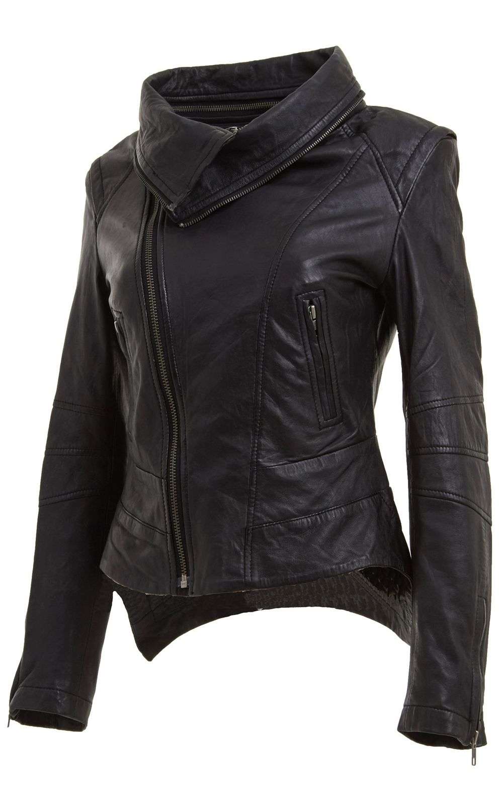 Womens Removable Zip Neck Black Leather Jacket front