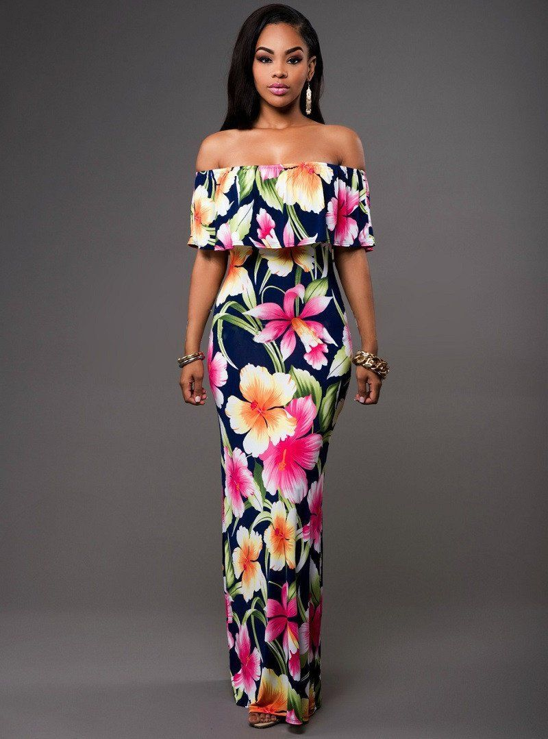 Step Into Summer With One Of Our Beautiful Floral Off Shoulder Maxi Sundresses This Gorgeous Tropical Print Flower Maxi Dress Long Boho Maxi Dress Maxi Dress