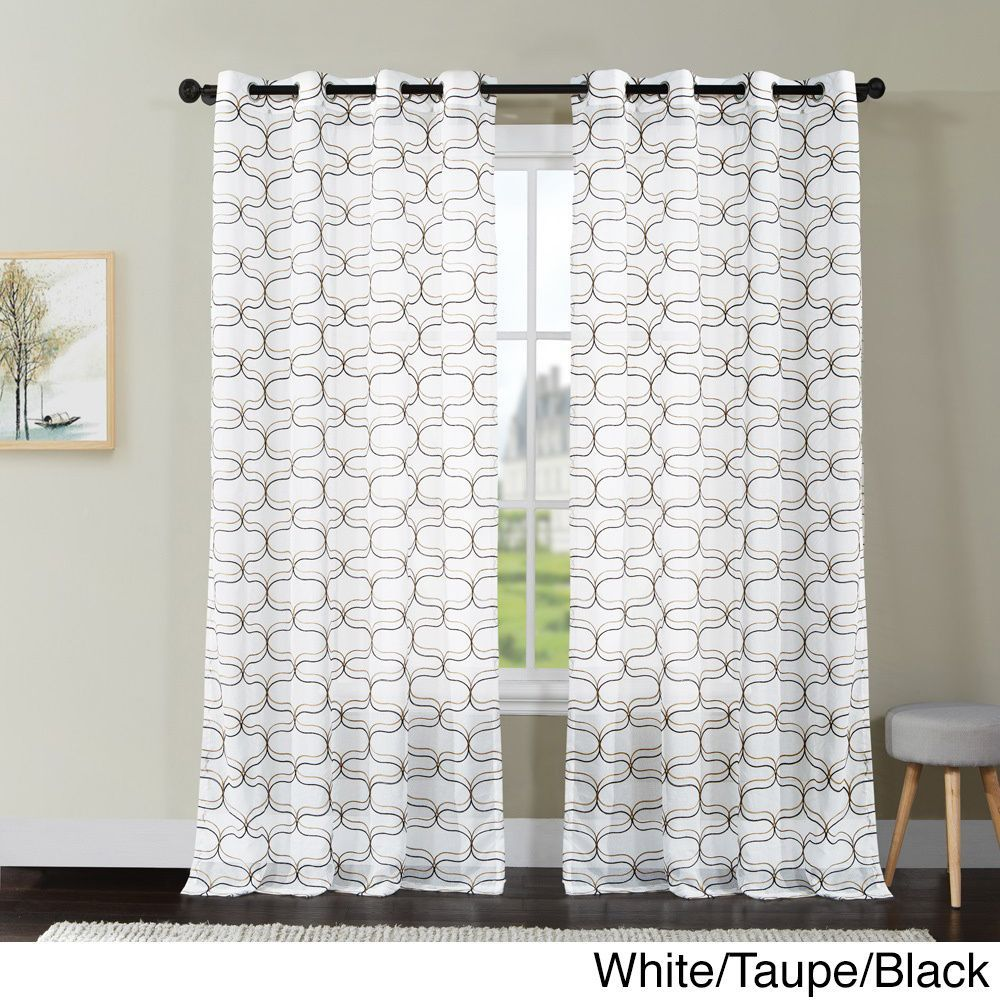 Vcny Khara Embroidered Sheer Grommet Top Curtain Panel 108 Inch White Blue Navy Black Size Inches Polyester Geometric