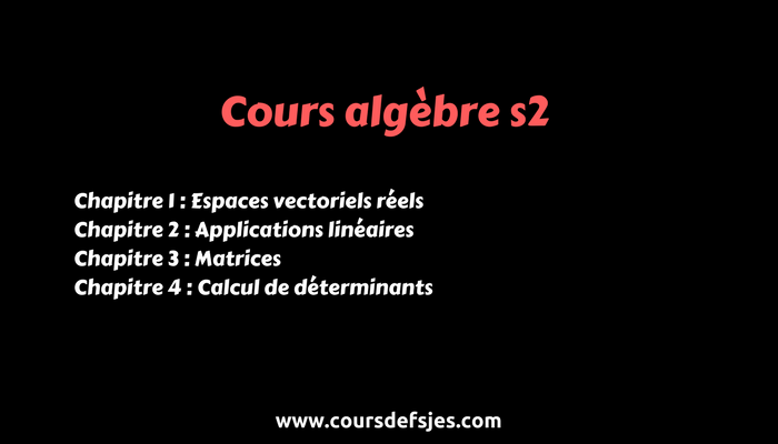 Cours Algebre S2 Economie Algebre Microeconomie Algebre Lineaire