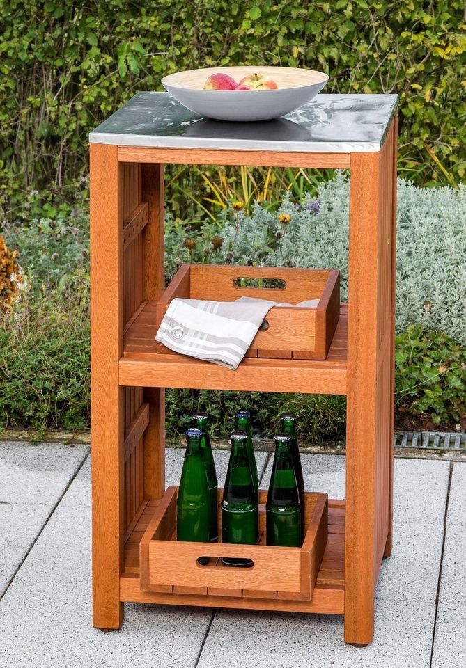 Merxx Gartentisch Spultisch Sideboard Eukalyptus 46x 56 Cm