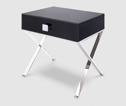 Best Zurich Black Glass Chrome Bedside Table Chrome Bedside 400 x 300