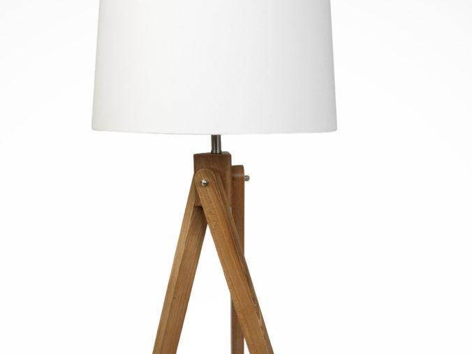 Wooden Tripod Floor Lamp With Cream Shade Floor Lamps