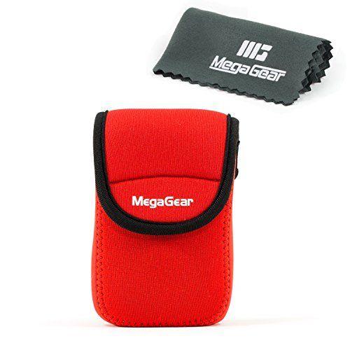 MegaGear Ultra Light Neoprene Camera Case Bag with Carabiner for Panasonic Lumix ZS60 Digital Camera Red * For more information, visit image link.