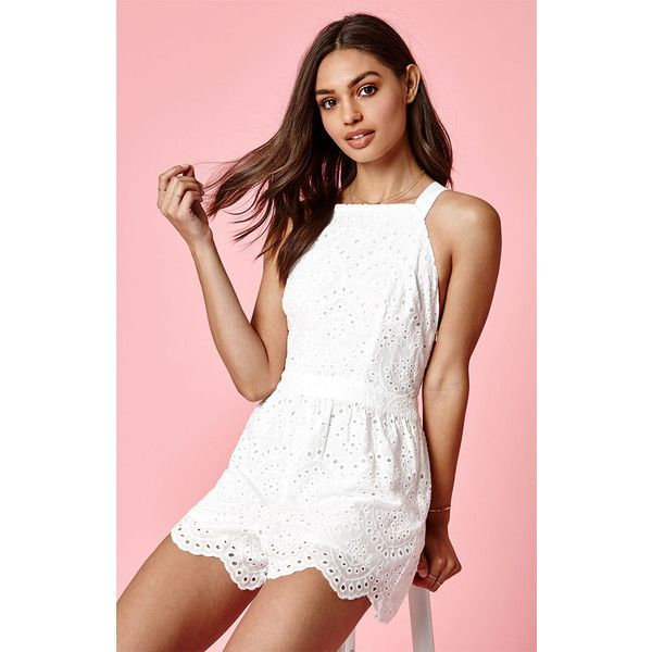 4d4b1be43dab Kendall Kylie Eyelet Romper ( 20) ❤ liked on Polyvore featuring jumpsuits
