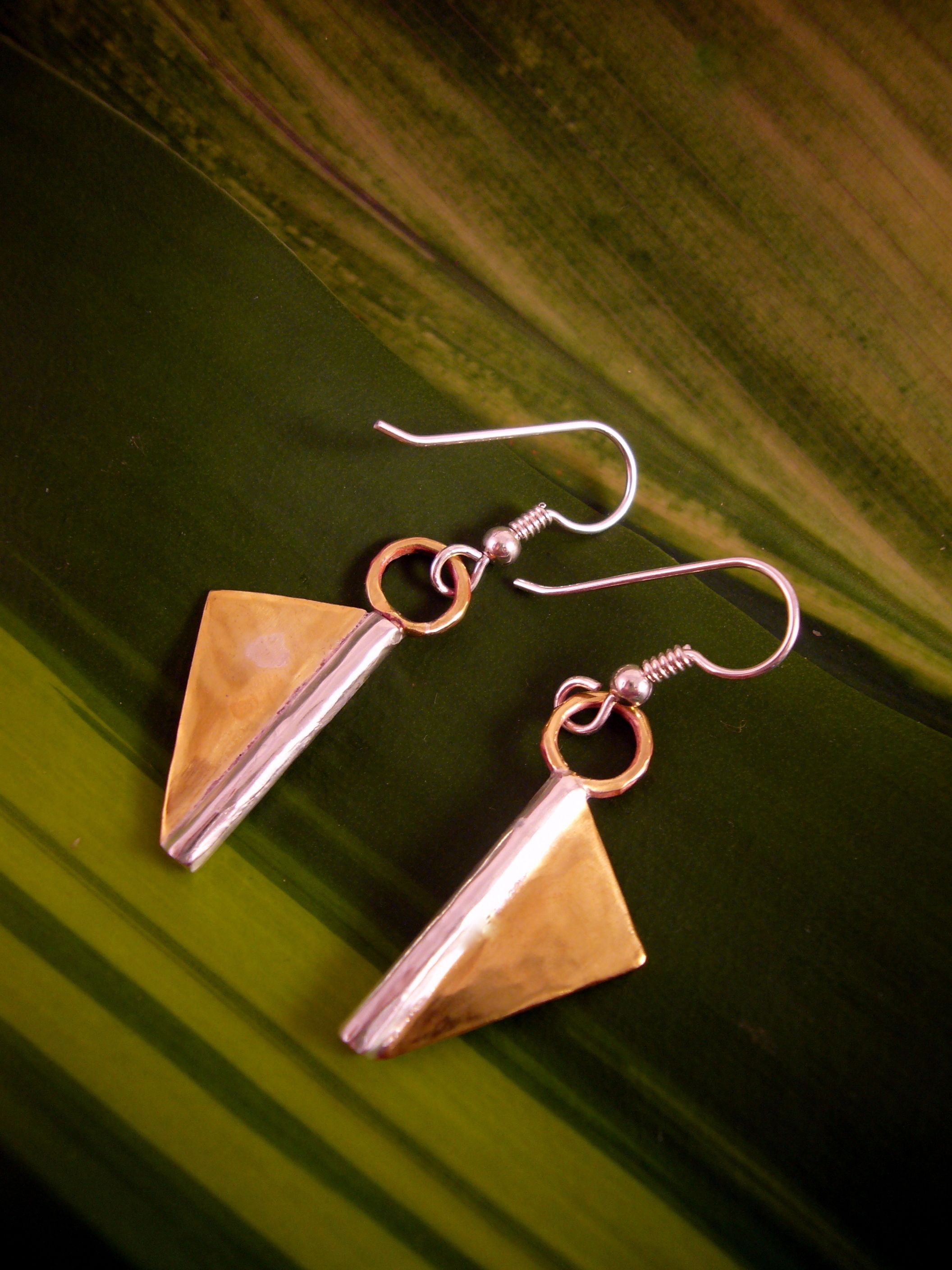 Brass and sterling silver earrings by cdsodesigns.