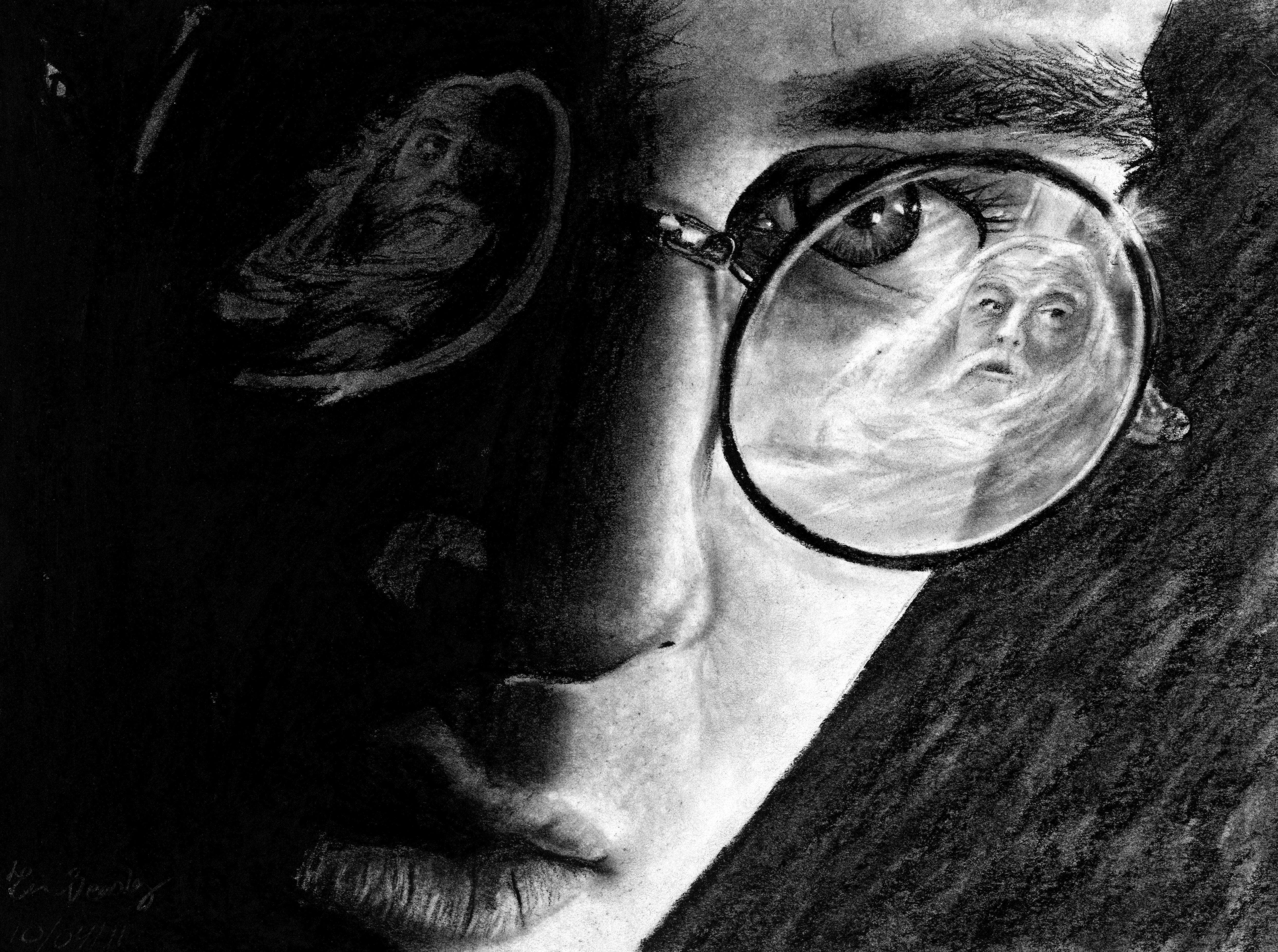 """A DRAWING of Harry Potter, done with charcoal. Check out my """"Artwork"""" board for more of my drawings!"""